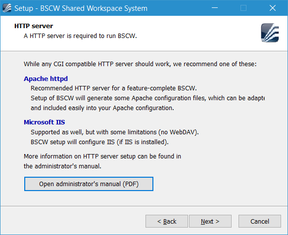 4  Installation procedure for Windows — BSCW Admin Manual