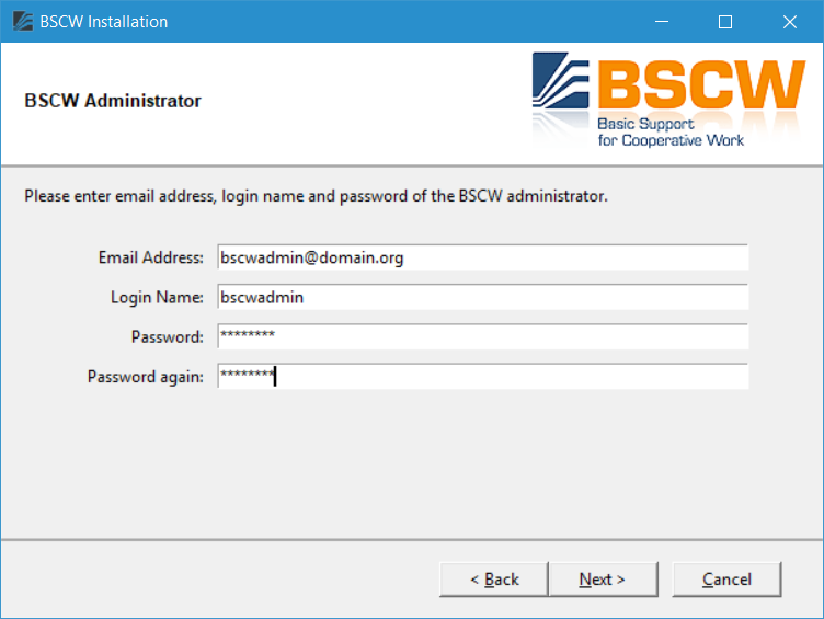 4  Installation procedure for Windows — BSCW Admin Manual 5 2 2